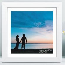 Sunset Silhouette Couple in Box Frame - Wedding, 1st Anniversary, or Enagagement Gift